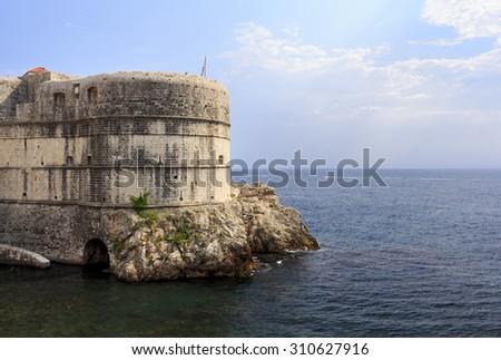 Fortress Bokar in Dubrovnik, Croatia. Fort Bokar is the key point in the defense of the Pila Gate. - stock photo