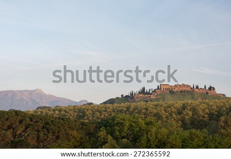 Fortress in Hostalric and Montseny national park in the back, Catalonia, Spain, Europe - stock photo