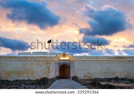 Fortress of Sagres Point was founded by Henry the Navigator.  - stock photo