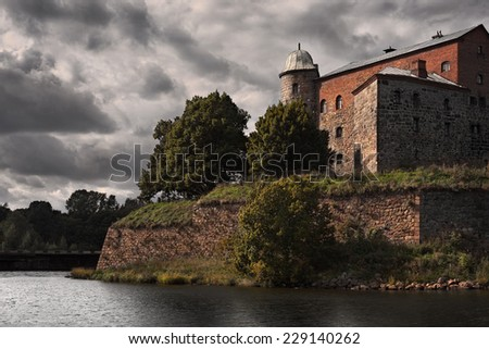 fortress of  st Olaf castle in Vyborg, Baltic sea                               - stock photo