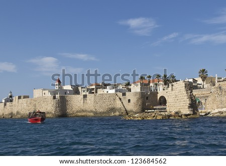 fortress wall along the sea in Akko