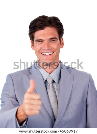 Fortunate businessman with thumb up against a white background
