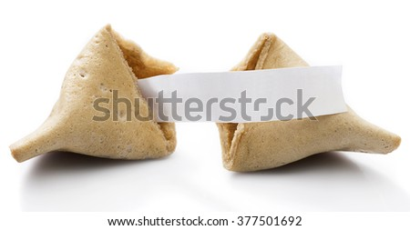 Fortune cookie with blank slip isolated on white background. - stock photo