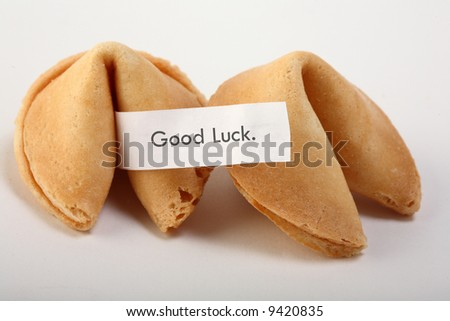 """fortune cookie with text: """"good luck"""". - stock photo"""
