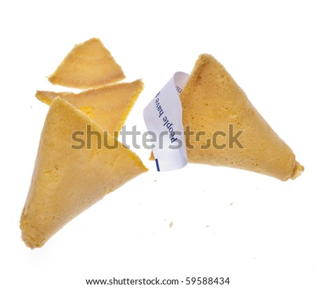 Fortune Cookie with Traditional Fortune Isolated on White with a Clipping Path. - stock photo