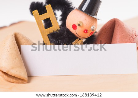 Fortune cookies and Chimney Sweep with empty sign / Good Luck - stock photo