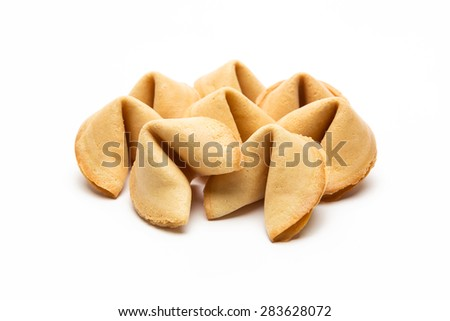 fortune cookies isolated on white background - stock photo