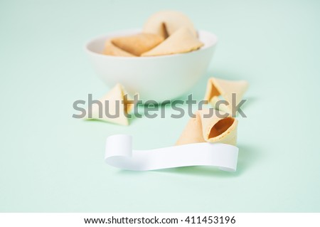 Fortune cookies on the green background - stock photo