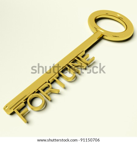 Fortune Gold Key Representing Luck And Wealth