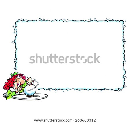 Fortune teller with space for text in a cartoon style. - stock photo