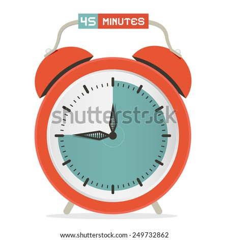 Forty Five Minutes Stop Watch - Alarm Clock Illustration  - stock photo