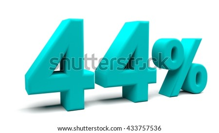 Forty four percents 3D text, with big fonts isolated on white background. 3D rendering.