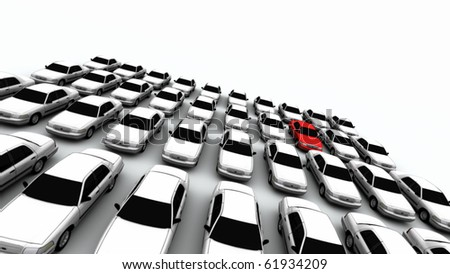Forty generic cars. The mystery car is red. - stock photo