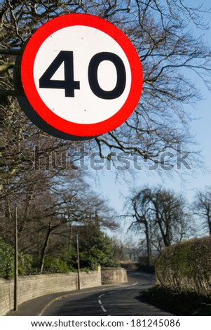 Forty mile per hour sign. - stock photo