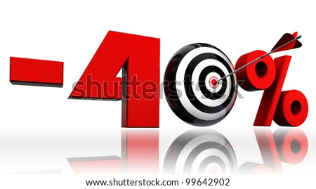 forty per cent 40% red discount symbol with conceptual target and arrow on white background.clipping path included
