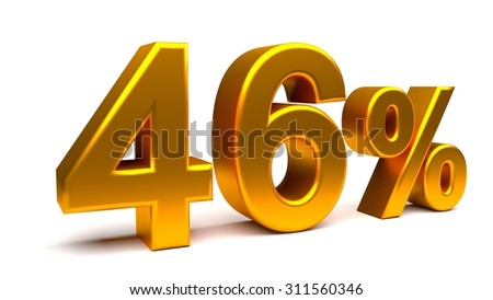 Forty six percents 3D text, with big golden fonts isolated on white background. Rendered illustration.