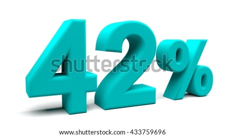 Forty two percents 3D text, with big fonts isolated on white background. 3D rendering.