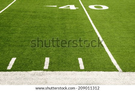 Forty-yard line of American football field - stock photo