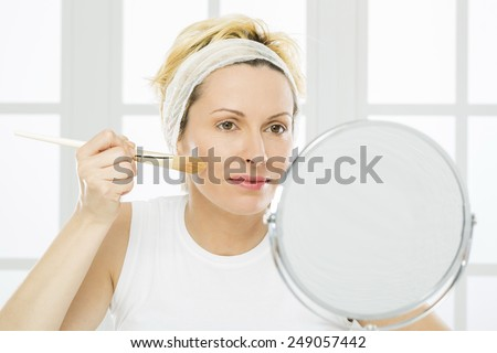 Forty years woman and make up - stock photo