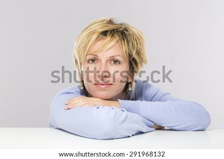 Forty years woman face - stock photo