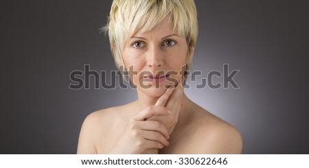 Forty years woman face and beauty - stock photo