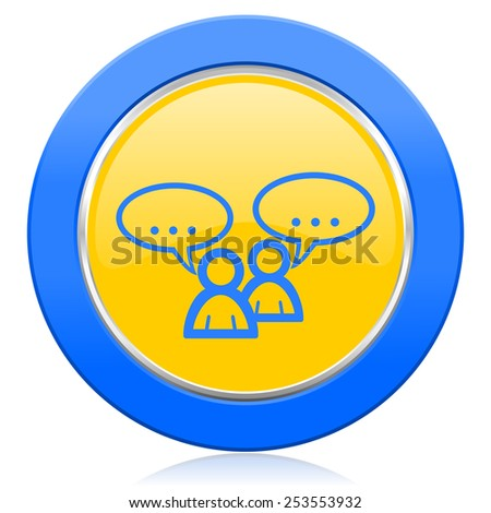 forum blue yellow icon chat symbol bubble sign  - stock photo