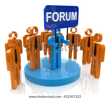 Forum community in the design of information related to communication. 3d illustration