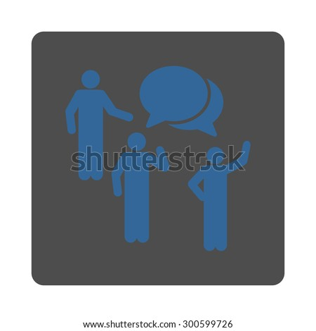 Forum icon. This flat rounded square button uses cobalt and gray colors and isolated on a white background. - stock photo