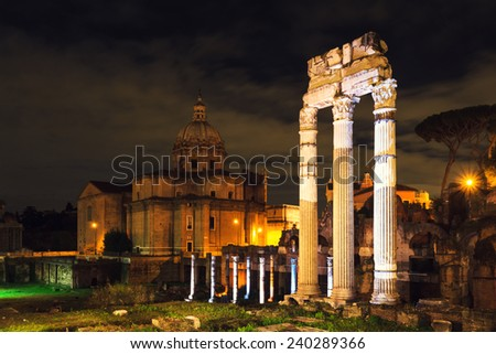 Forum of Caesar at night, Rome, Italy - stock photo