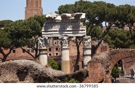 Forum Overview Main Road, Temple of Saturn, Temple of Castor and Pollux, Colosseum Titus Arch Rome Italy