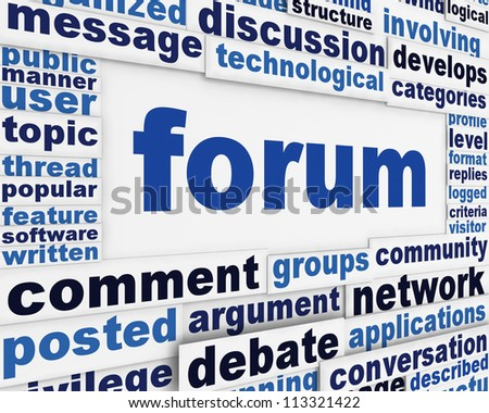 Forum poster conceptual design. Online public discussion message background - stock photo