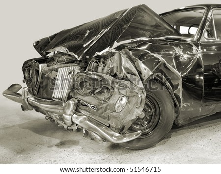 Forward part of the car after crash. - stock photo