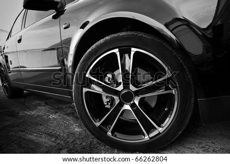 Forward wheel of the car - stock photo