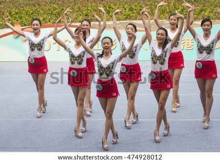 FOSHAN, CHINA - August 26, 2016:Miss beauty contest was held in the water in the town, foshan city, nine young girl dancing on stage, to strive for the victory.