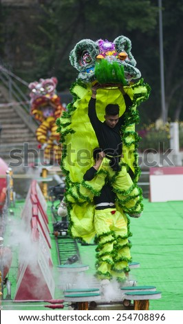 FOSHAN -Feb 19:Lion dance competition held in xiqiao town, west firewood flap of the championship, every Chinese New Year, Chinese lion dance to celebrate Feb 19, 2015 in Foshan, China - stock photo