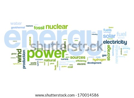 Fossil and alternative energy sources word cloud - stock photo