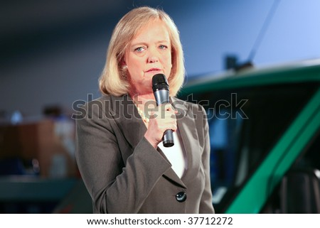 FOSTER CITY, CA - SEPT 25: Meg Whitman gives a speech during her campaign for California governor 2010 election at SolarCity warehouse, September 25, 2009, Foster City, CA - stock photo