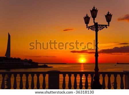 foto made in Sevastopol bay when sun goes down - stock photo