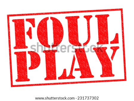 FOUL PLAY red Rubber Stamp over a white background.