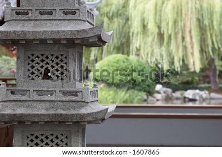 Found in Oriental gardens, Stone Pagoda - stock photo