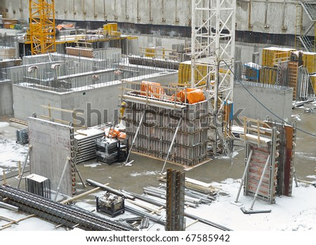 Foundation for new Condo Tower in winter - stock photo