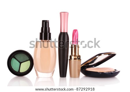 foundation, mascara, face powder and lipstick isolated on white - stock photo