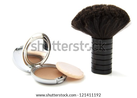 Foundation powder in little box with mirror and brush isolated over white