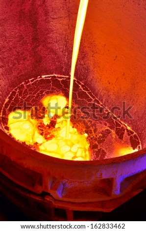 Foundry - Pouring of liquid metal - stock photo