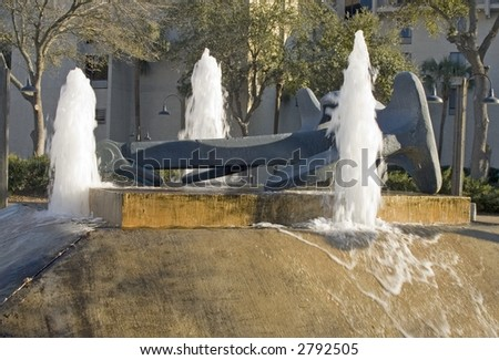 Fountain along the river wall in Jacksonville Florida.