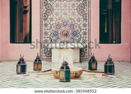 Fountain and Architecture morocco style decoration interior - Vintage Filter - stock photo