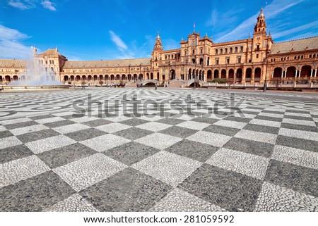 fountain and central building at Plaza de Espana. Seville, Spain - stock photo