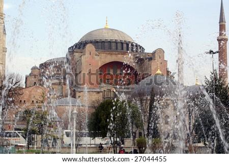 Fountain and Hagya Sophya in Istanbul, Tuirkey - stock photo