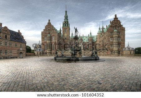 Fountain at Frederiksborg castle in Hillerod, Denmark.