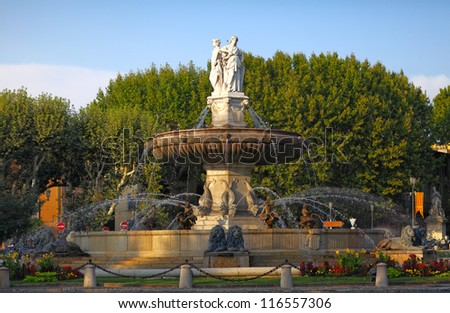 fountain at La Rotonde at sunset, Aix-en-Provence, Provence, Fra - stock photo
